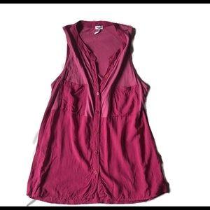 Splendid Button Up Pocket Tank Top Hot Pink
